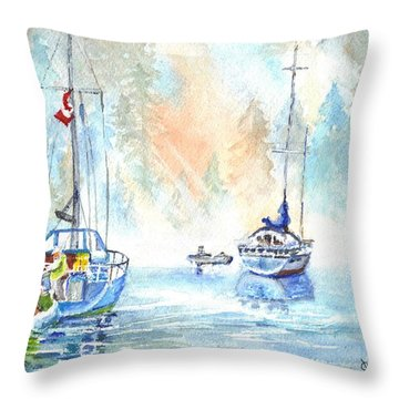 Two In The Early Morning Mist Throw Pillow by Carol Wisniewski