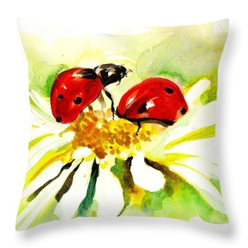 Two Ladybugs In Daisy After My Original Watercolor Throw Pillow by Tiberiu Soos