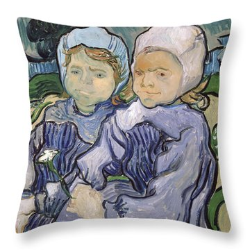 Two Little Girls Throw Pillow by Vincent Van Gogh