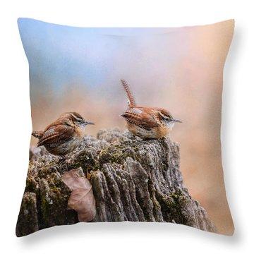 Two Little Wrens Throw Pillow by Jai Johnson
