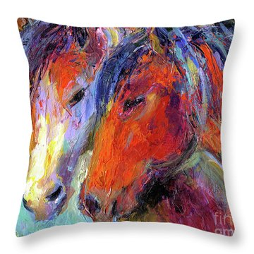 Two Mustang Horses Painting Throw Pillow by Svetlana Novikova