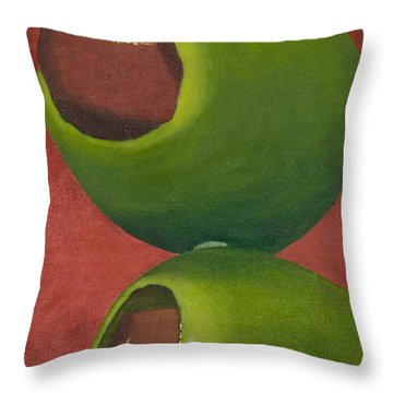 Two Olives In Search Of A Bloody Mary Throw Pillow by Garry McMichael