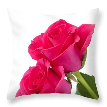 Two Roses Throw Pillow by Anne Gilbert