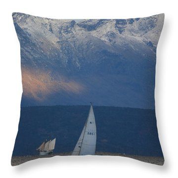 Two Ships Throw Pillow by Ulrich Kunst And Bettina Scheidulin
