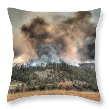 Throw Pillow featuring the photograph Two Smoke Columns White Draw Fire by Bill Gabbert