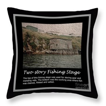 Two-story Fishing Stage Throw Pillow by Barbara Griffin
