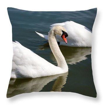 Two Swimming Swans Throw Pillow by Carol Groenen