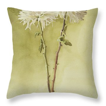 Two White Mums Throw Pillow by Kathryn Donatelli