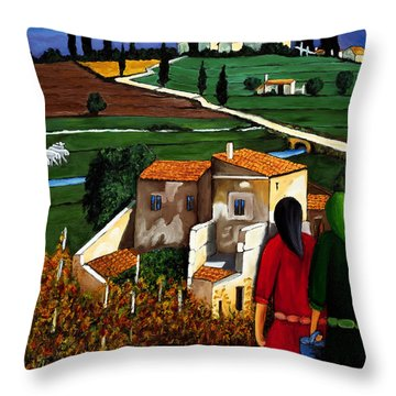 Two Women And Village Sheep Throw Pillow by William Cain