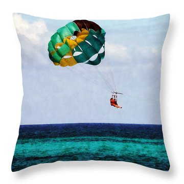 Two Women Parasailing In The Bahamas Throw Pillow by Susan Savad