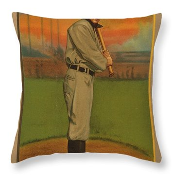Ty Cobb Circa 1911 Throw Pillow by George Pedro