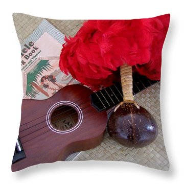 Ukulele Ipu And Songbook Throw Pillow by Mary Deal