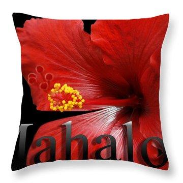 Ula Anoano Hanohano Red Tropical Hibiscus Mahalo Throw Pillow by Sharon Mau