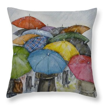 Umbrella Huddle Throw Pillow by Kelly Mills