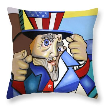 Uncle Sam 2001 Throw Pillow by Anthony Falbo