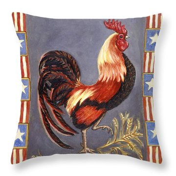 Uncle Sam The Rooster Throw Pillow by Linda Mears