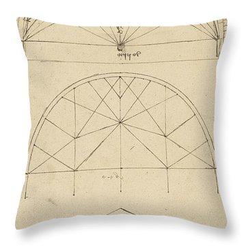 Underdrawing For Building Temporary Arch Throw Pillow by Leonardo Da Vinci