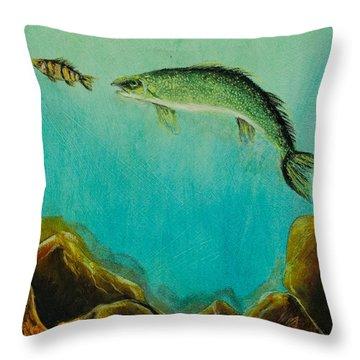 Underwater Predators Panel 1 Throw Pillow by Jeanne Fischer