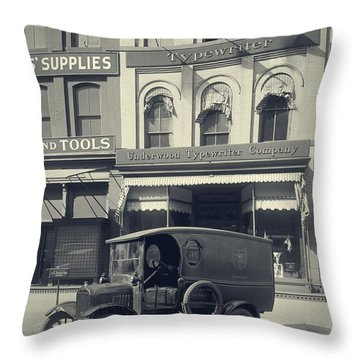 Underwood Typewriter Factory Throw Pillow by Edward Fielding