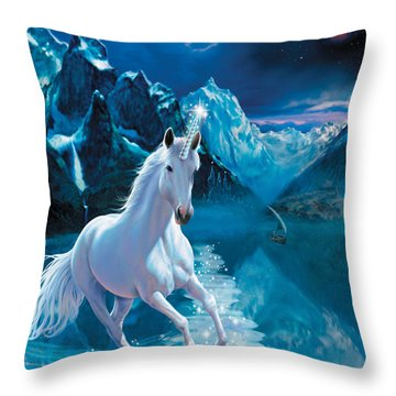 Unicorn Throw Pillow by Andrew Farley