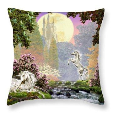 Unicorn New Born Throw Pillow by Garry Walton