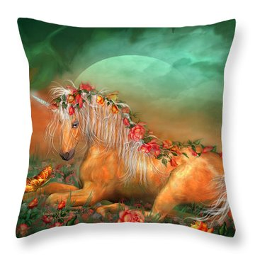 Unicorn Of The Roses Throw Pillow by Carol Cavalaris
