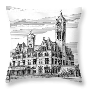 Union Station In Nashville Tn Throw Pillow by Janet King