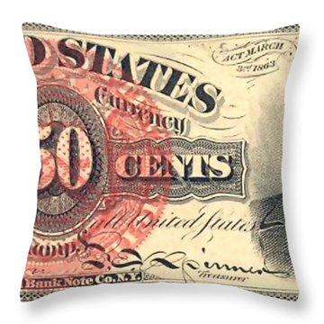 United Stated 50 Cents Throw Pillow by Lanjee Chee