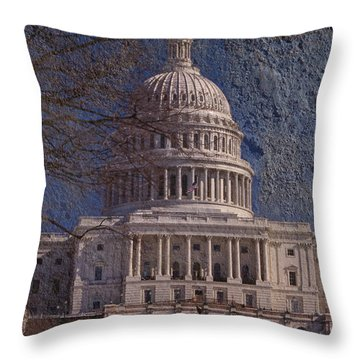 United States Capitol Throw Pillow by Skip Willits
