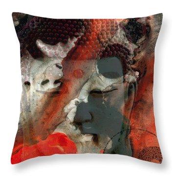 Universal Qi - Zen Black And Red Art Throw Pillow by Sharon Cummings