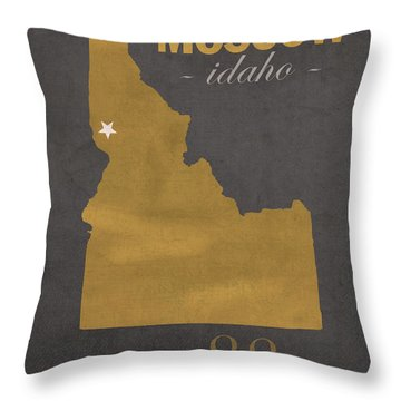 University Of Idaho Vandals Moscow College Town State Map Poster Series No 046 Throw Pillow by Design Turnpike