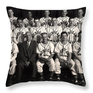 University Of Michigan - 1953 College Baseball National Champion Throw Pillow by Mountain Dreams