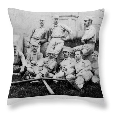 University Of Michigan Baseball Team Throw Pillow by Georgia Fowler