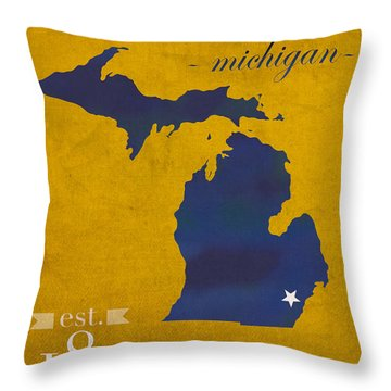 University Of Michigan Wolverines Ann Arbor College Town State Map Poster Series No 001 Throw Pillow by Design Turnpike