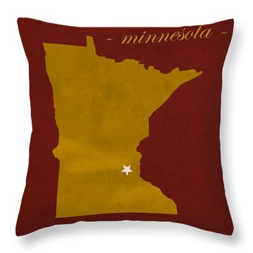 University Of Minnesota Golden Gophers Minneapolis College Town State Map Poster Series No 066 Throw Pillow by Design Turnpike