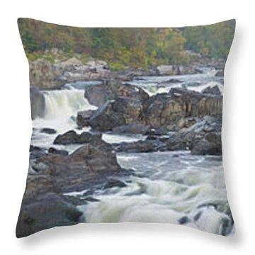 Upper Great Falls Panorama Throw Pillow by Benjamin Reed