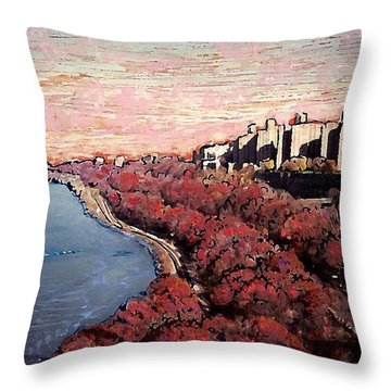 Upper Manhattan Along The Hudson River Throw Pillow by Sarah Loft