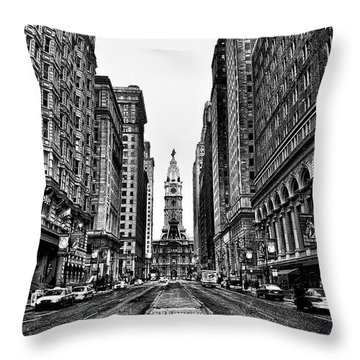 Urban Canyon - Philadelphia City Hall Throw Pillow by Bill Cannon