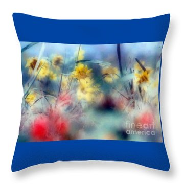 Urban Wildflowers Throw Pillow by Michael Hoard