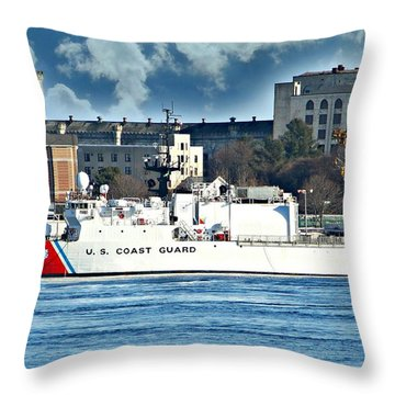 Us Coast Guard Throw Pillow by Barbara S Nickerson