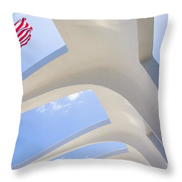 U.s.  Flag At The Uss Arizona Memorial Throw Pillow by Diane Diederich