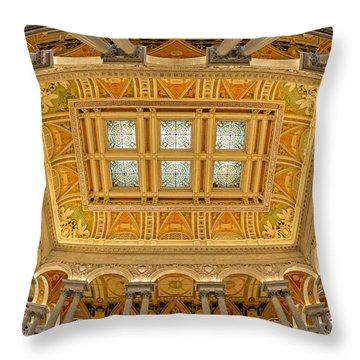 Us Library Of Congress Throw Pillow by Susan Candelario