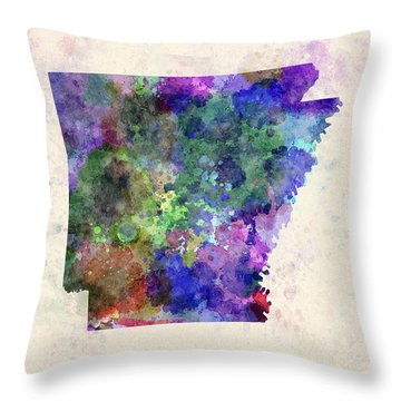 Us State In Watercolor Throw Pillow by Pablo Romero