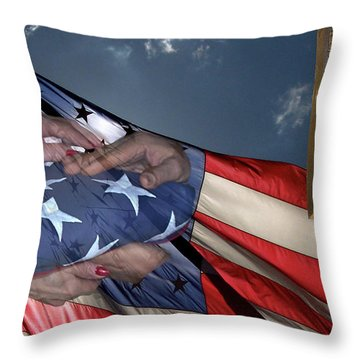 Us Veterans Burial Flag 3 Panel Composite Digital Art Throw Pillow by Thomas Woolworth