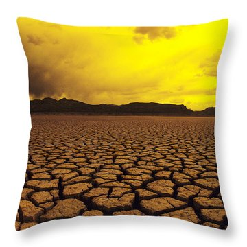Usa, California, Cracked Mud In Dry Throw Pillow by Larry Dale Gordon