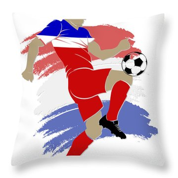 Usa Soccer Player Throw Pillow by Joe Hamilton