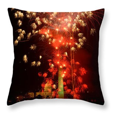 Usa, Washington Dc, Fireworks Throw Pillow by Panoramic Images