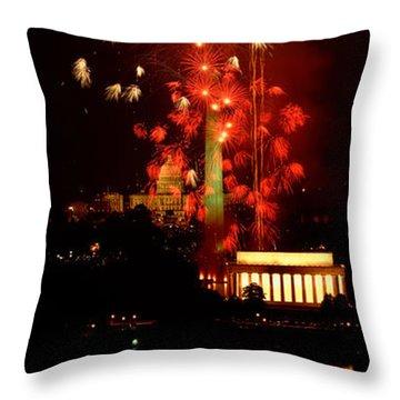 Usa, Washington Dc, Fireworks Throw Pillow by Panoramic Images