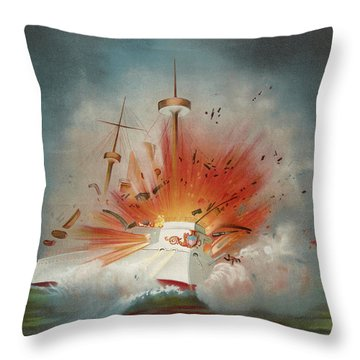 Uss Maine Circa 1898  Throw Pillow by Aged Pixel