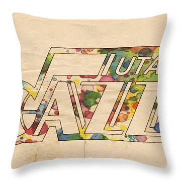 Utah Jazz Retro Poster Throw Pillow by Florian Rodarte